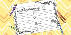 Jungle Themed Write Up Activity Sheet