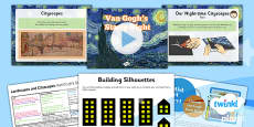 Art and Design - Landscapes and Cityscapes: Van Gogh's Starry Night KS1 Lesson Pack 4