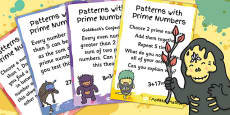 Patterns With Prime Numbers Maths Display Posters