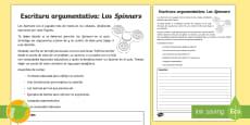 Ficha de actividad: Escritura argumentativa - Los 'Spinners'