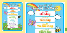 Days of the Week Display Poster Arabic Translation