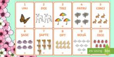 Primăvara - Planșe cu numerele de la 1 la 10