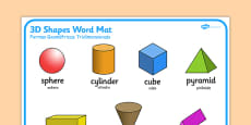 3D Shape Word Mat Portuguese Translation