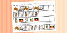 Australia - Aboriginal and Torres Strait Islander People Complete the Pattern Activity Sheet