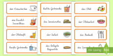 Healthy Eating Cafe Role Play Word Cards German