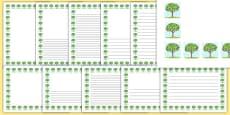 Spring Tree Page Borders