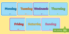 English Days of the Week Display Poster Pack