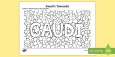 * NEW * Gaudi's Trencadis Colouring Page
