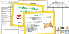 Buddhism, Judaism and Hinduism Beliefs and Religious Symbols Resource Pack
