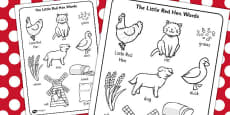 The Little Red Hen Words Colouring Sheet