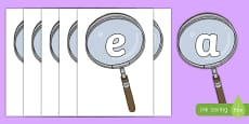 Investigation Area on Magnifying Glasses Display Cut Outs