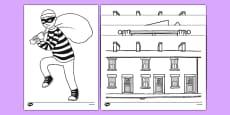 Burglar Colouring Sheets