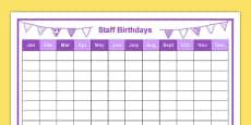 Staff Birthdays Year at a Glance