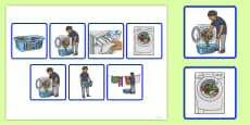 7 Step Sequencing Cards Washing Clothes