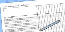 2014 Curriculum Year 5 Science Assessment Class Checklist