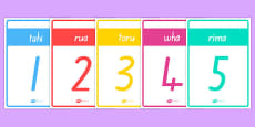 Numbers 1-10 Cards Te Reo Māori