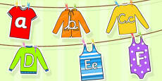 Alphabet Washing Line Display Cut Outs
