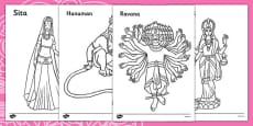 Diwali Colouring Sheets