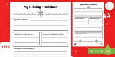 My Holiday Traditions Activity Sheet