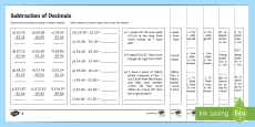 Subtraction of Decimals Activity Sheet
