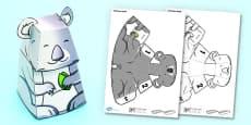 3D Koala Paper Model Activity