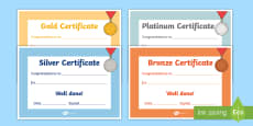 Gold Silver Bronze Certificates