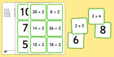 Multiplication and Division 2 Times Table Matching Cards
