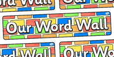 Our Word Wall Display Colour Bricks