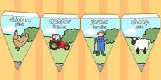 Farm Themed Bunting Romanian Translation