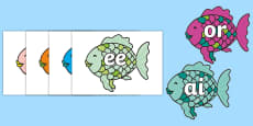 Phase 3 Phonemes on Fish to Support Teaching on The Rainbow Fish