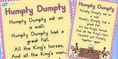 Humpty Dumpty Nursery Recycle Rhyme Poster (Australia)
