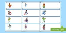 Etiquetas de perchero: Los superhéroes