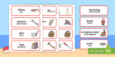 Santa's Workshop Role Play Word Cards English/Afrikaans