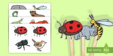 Stick Puppets to Support Teaching on The Bad Tempered Ladybird