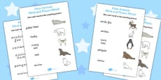 Polar Animals Word and Picture Matching Activity Sheet