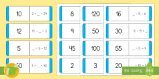 Tarjetas de emparejar: Multiplicar y dividir por 2, 5 y 10