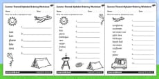 Summer Differentiated Alphabet Ordering Activity Sheet