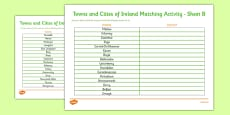 Towns and Cities of Ireland Activity Activity Sheet
