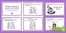 Year 6 Maths Mastery Mental Calculations Challenge Cards