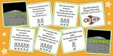 Five Little Astronauts Counting Song Sequencing Cards