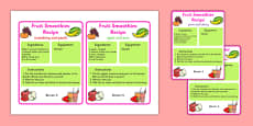 Smoothie Recipe Cards to Support Teaching on The Very Hungry Caterpillar