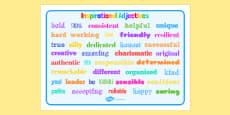 Inspirational Adjective Words Word Mat