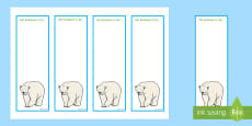 Polar Bear Editable Bookmarks