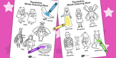 Thumbelina Words Colouring Sheets