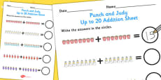 Punch and Judy Up to 20 Addition Sheet