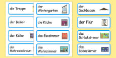 Parts of a House Word Cards German