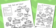 Australia - Transport Roll And Colour Activity Activity Sheet