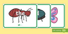 100 High Frequency Words on Minibeasts Display Posters