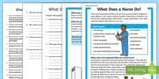 What Does a Nurse Do? Differentiated Reading Comprehension Activity