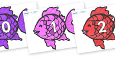 Numbers 0-31 on Fish to Support Teaching on The Rainbow Fish